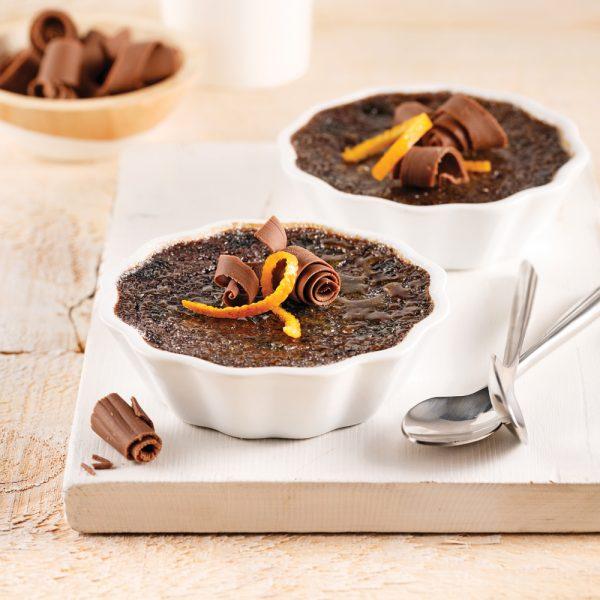 Crème brûlée au chocolat noir et zeste d'orange
