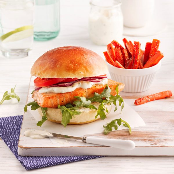 Burger gourmand de saumon