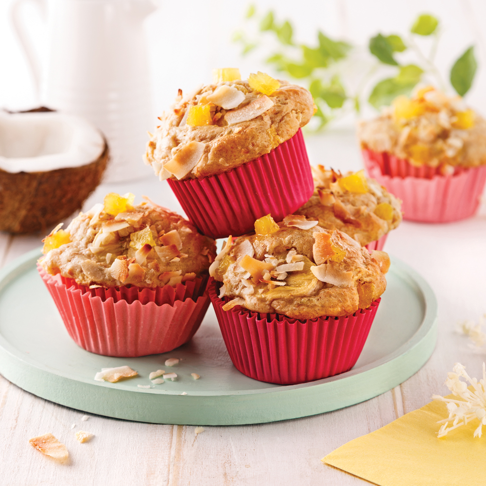 Muffins tropicaux à l'ananas et lait de coco
