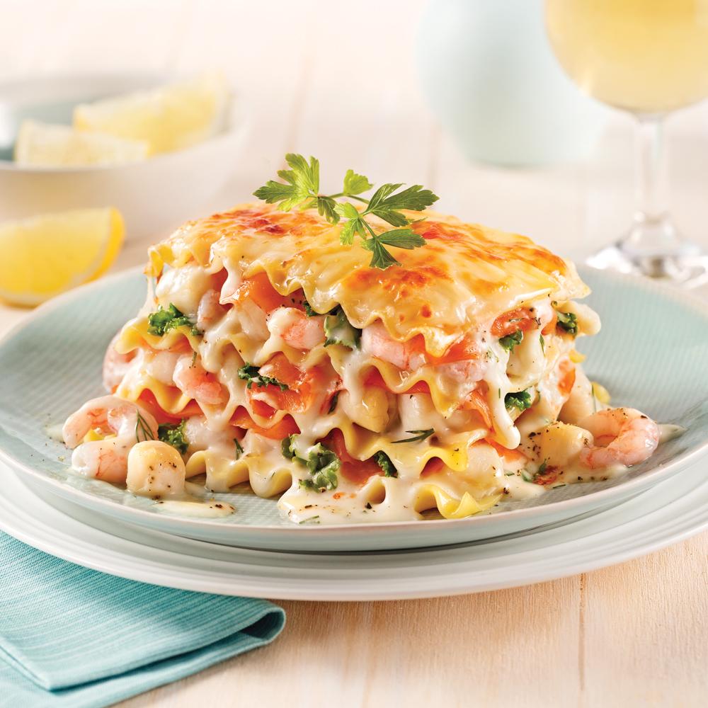Lasagne aux fruits de mer et saumon fumé