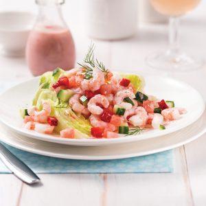 Salade de crevettes, fraises et melon d'eau