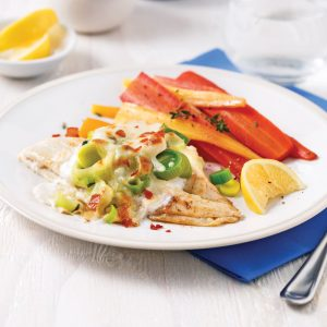 Filets de sole gratinés aux poireaux et prosciutto