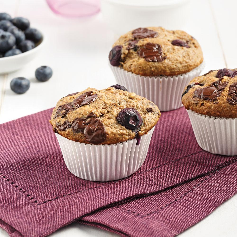 Muffins aux bleuets et chocolat noir
