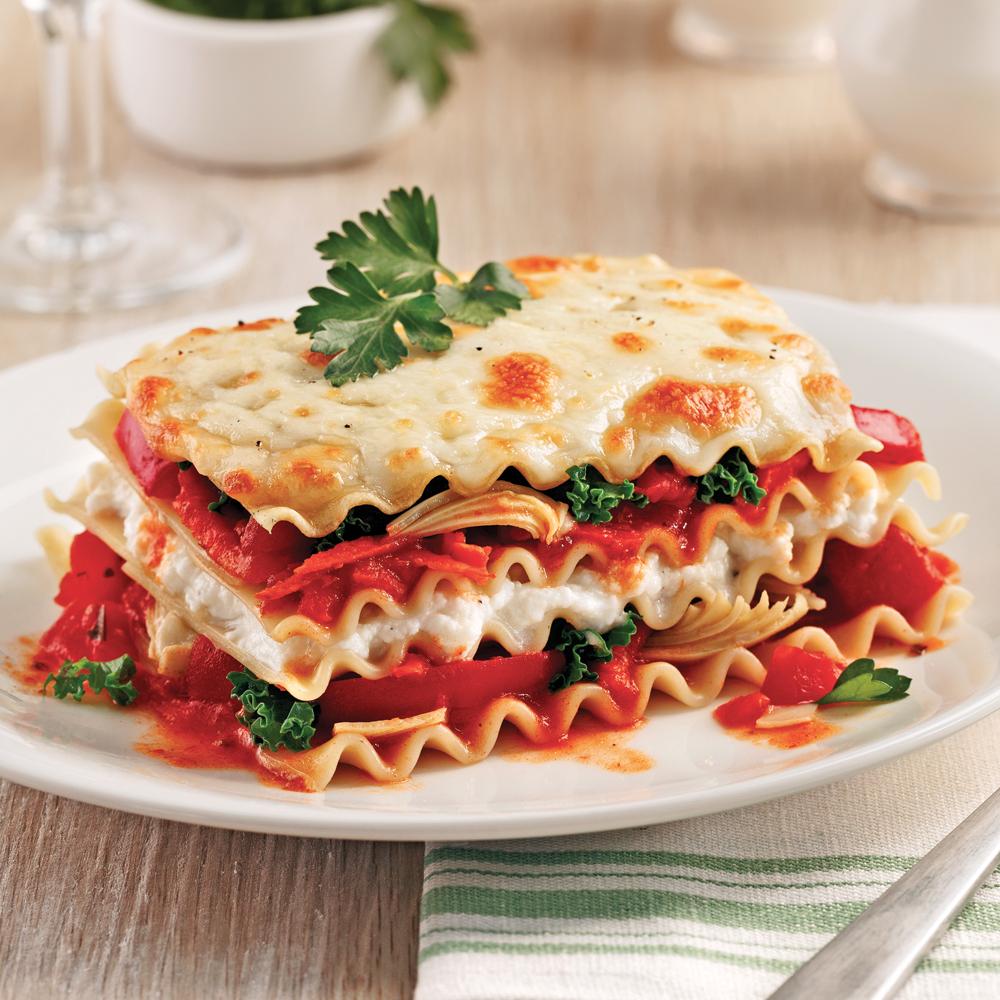 Lasagne au chou kale et artichauts à la mijoteuse