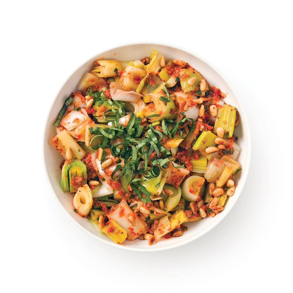 Salade de poireaux à la méditerranéenne