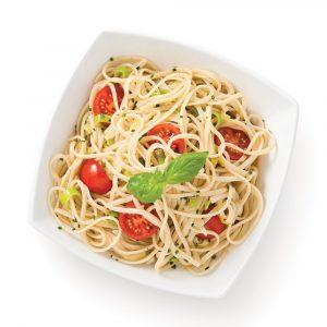 Linguines aux poireaux et tomates cerises