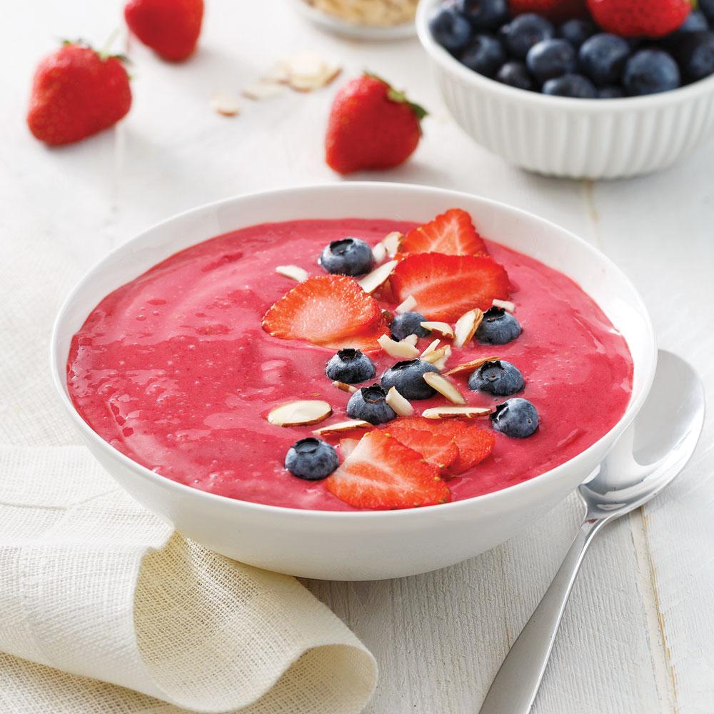 Smoothie bowl fraises et framboises