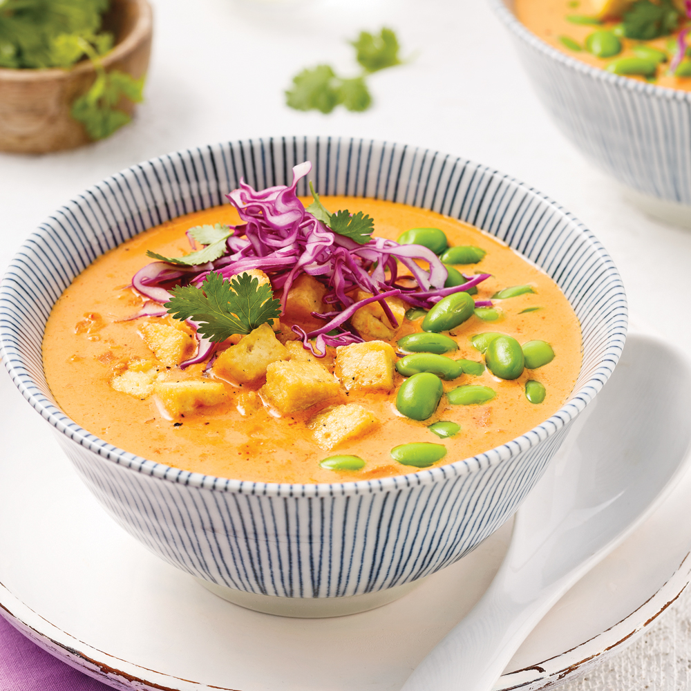 Soupe cari-coco au tofu