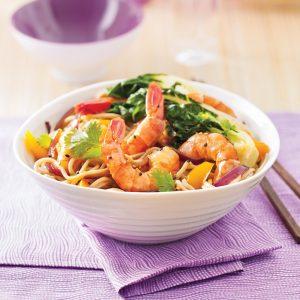 Nouilles aux crevettes et bok choy