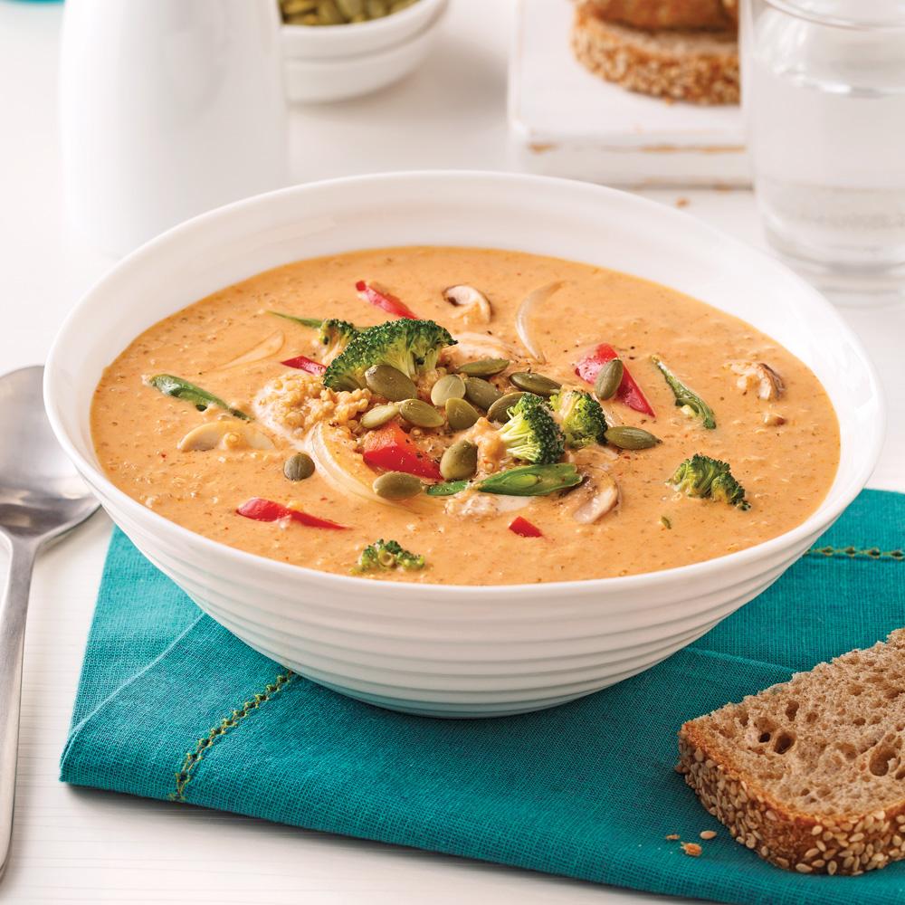 Soupe-repas au quinoa et beurre de cajou
