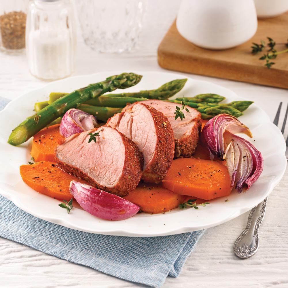 Filet de porc aux légumes colorés