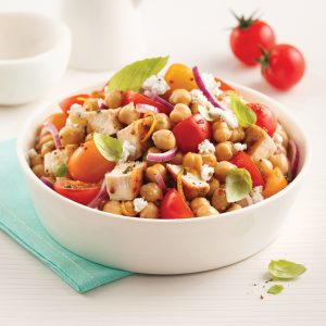 Salade de pois chiches, tomates et poulet