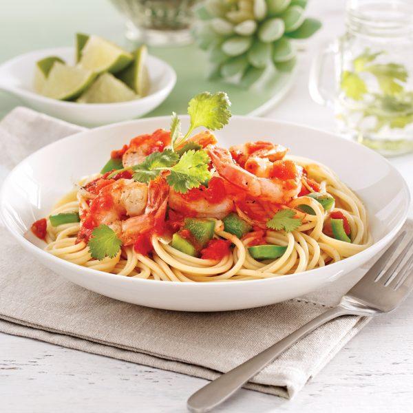 Spaghetti aux crevettes arrabbiata