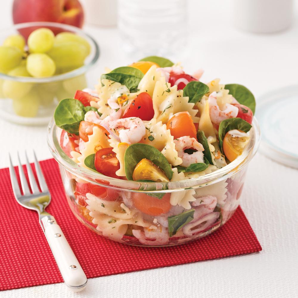 Salade de pâtes aux crevettes nordiques