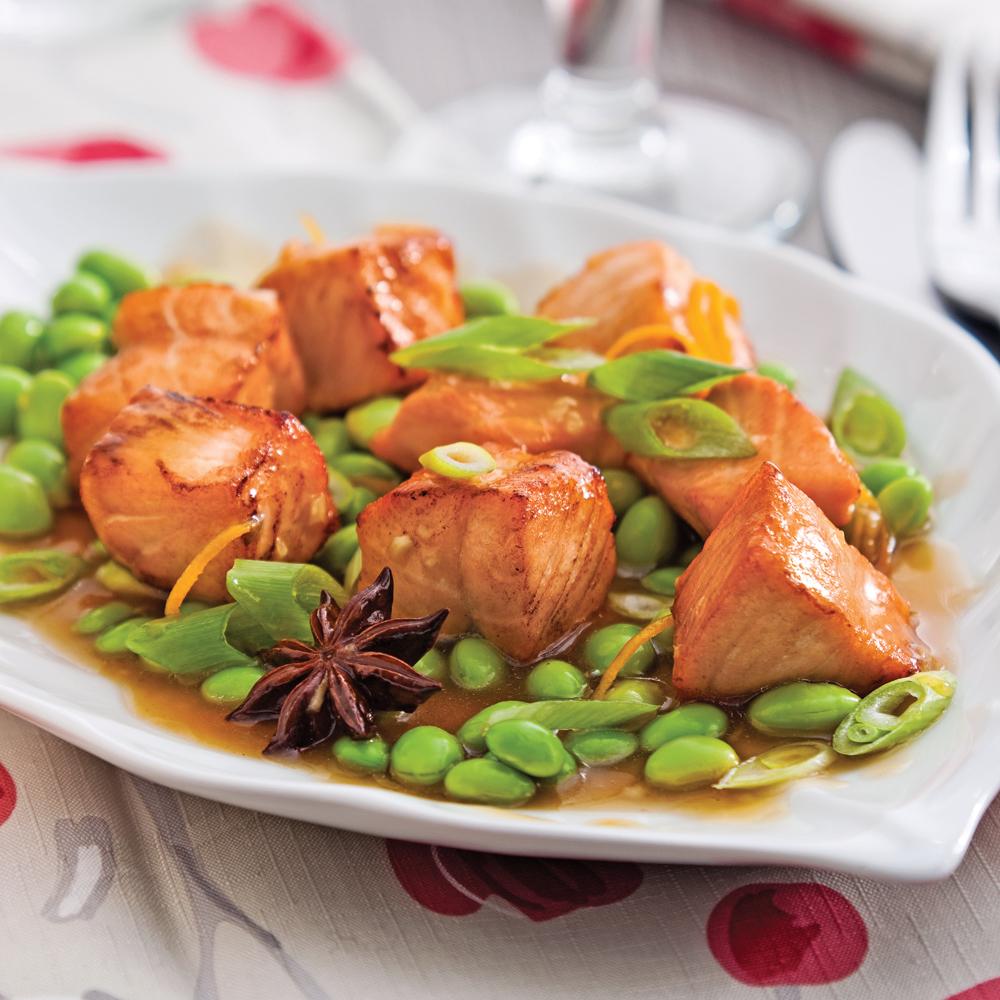 Sauté de saumon aux edamames