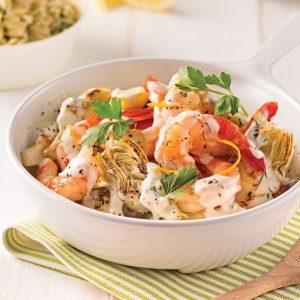 Crevettes et artichauts poêlés