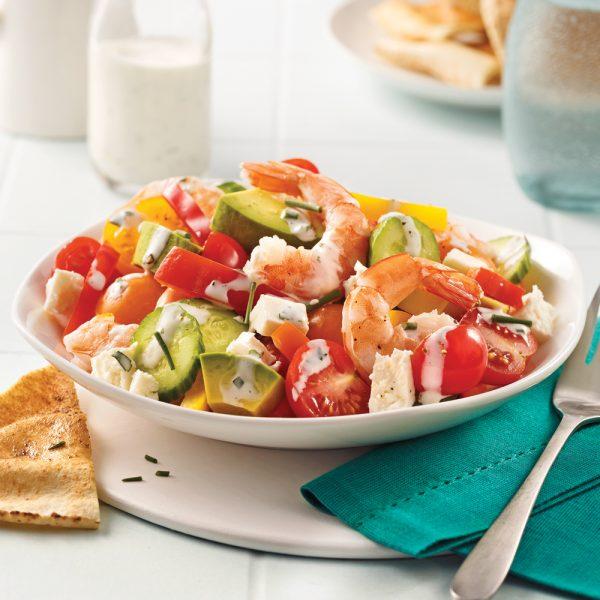 Salade aux crevettes à la grecque