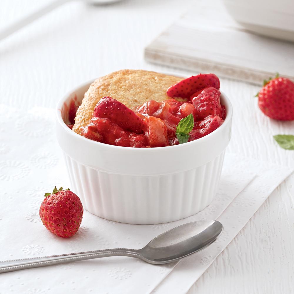 Pouding fraises-rhubarbe