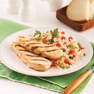 Pavés de flétan, salade de couscous