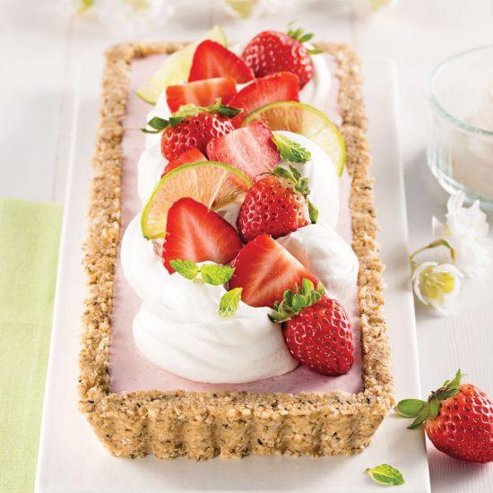 Tarte au yogourt et fraises