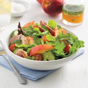 Salade de porc et pêches
