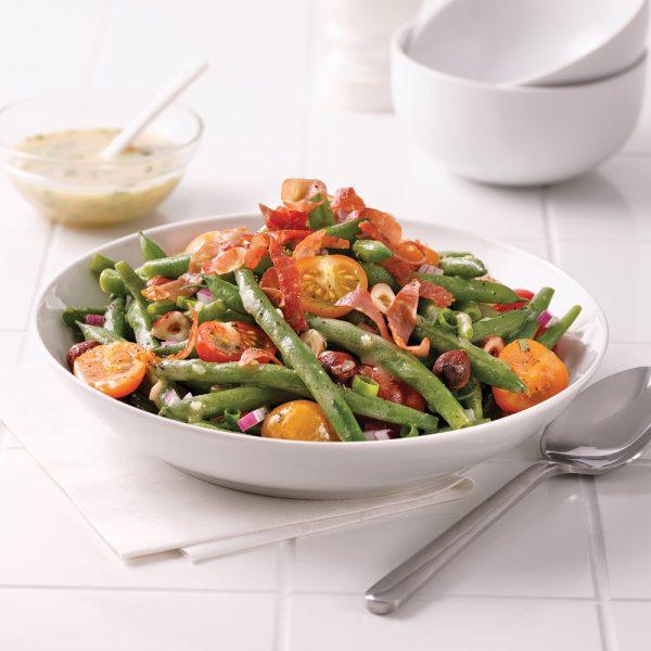 Salade de haricots verts, tomates et prosciutto