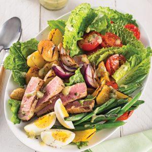 Salade niçoise tiède aux légumes grillés