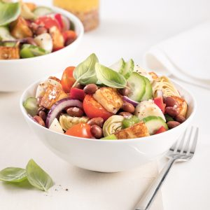 Salade de haricots, coeurs de palmier et artichauts