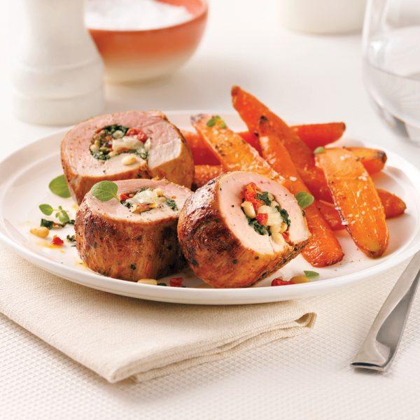 Filet de porc farci aux épinards et cheddar