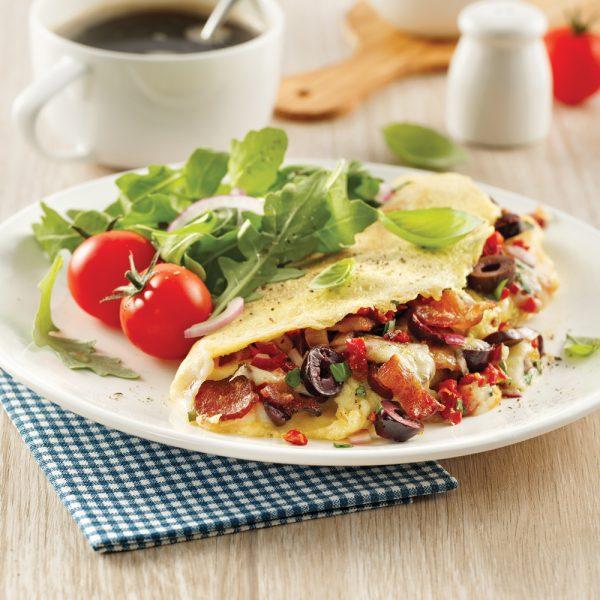 Omelette aux légumes et fromage