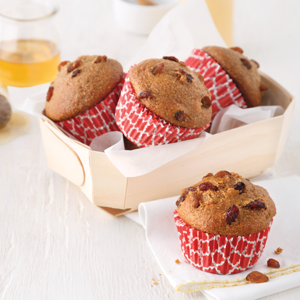 Muffins au son, miel et raisins secs