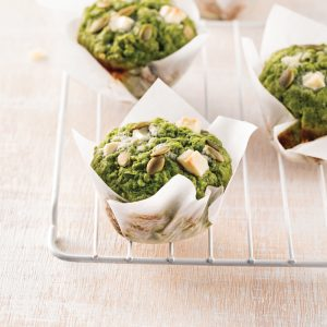 Muffins verts à la banane, matcha et épinards