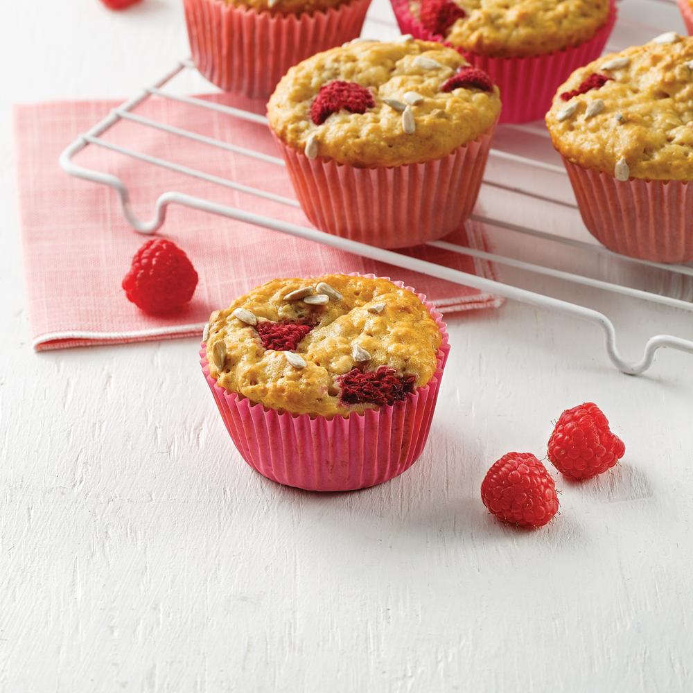 Muffins aux framboises et graines de tournesol
