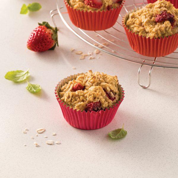 Muffins aux flocons d'avoine et fraises