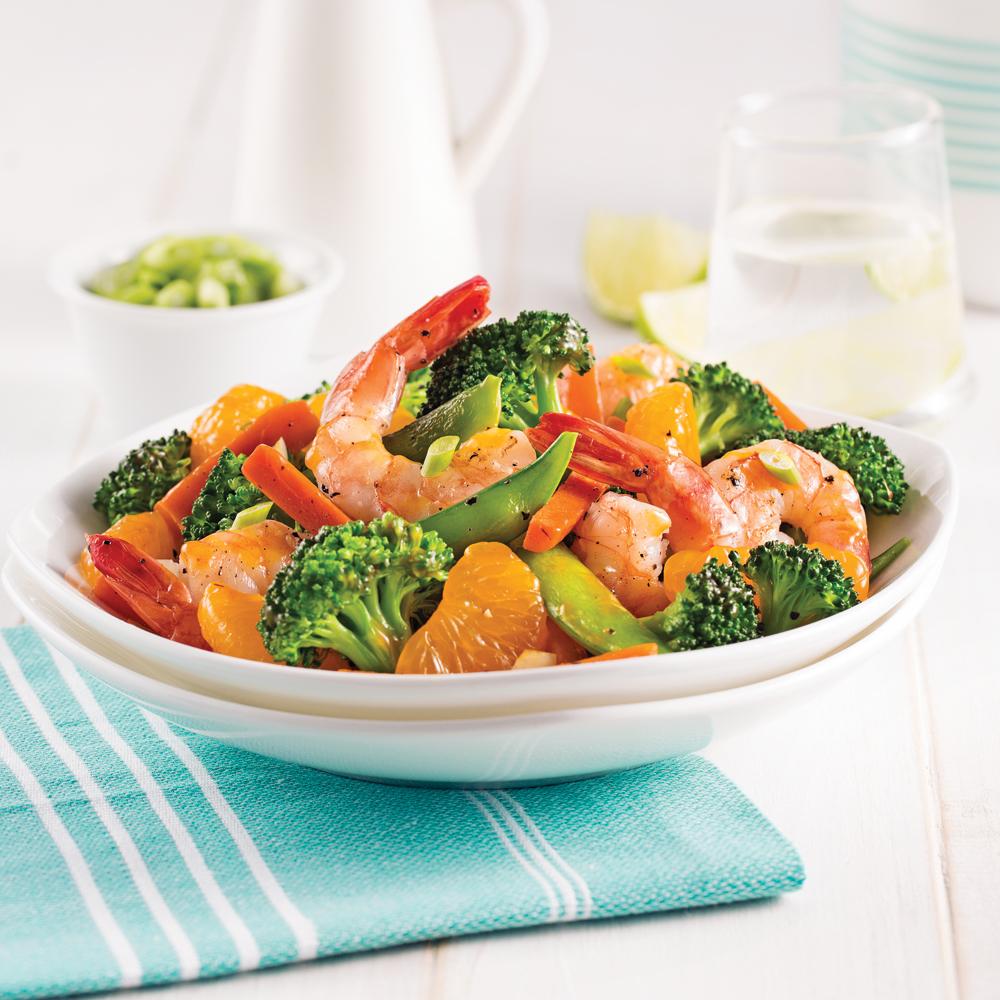 Crevettes poêlées aux mandarines et légumes asiatiques