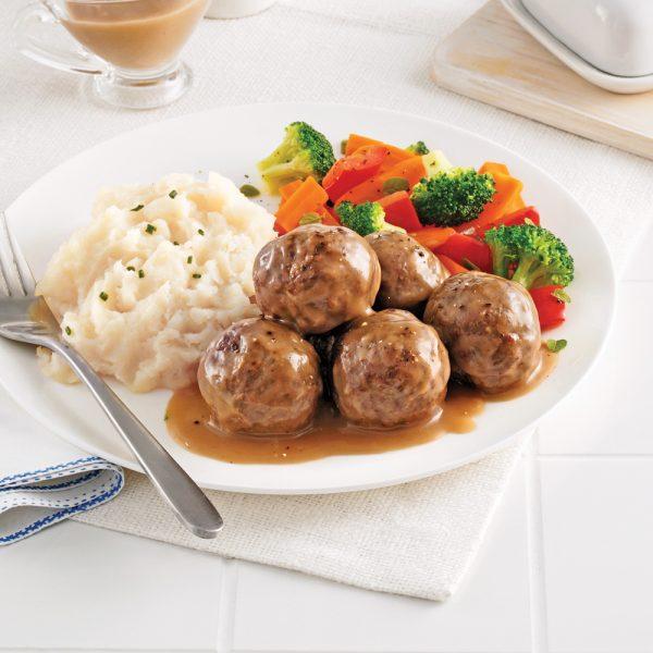 Boulettes de veau et de boeuf aux champignons à la suédoise