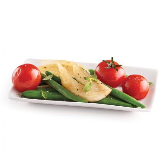 Salade tiède de fenouil, tomates et haricots
