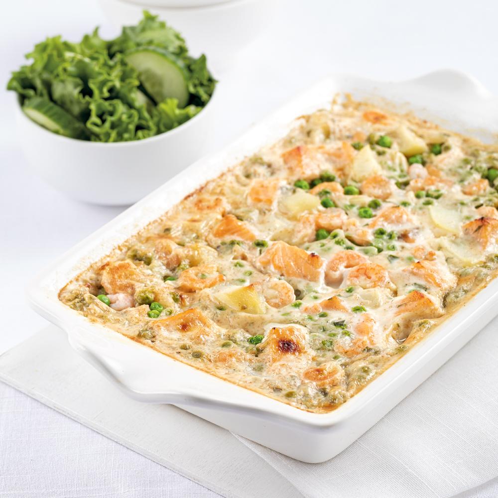 Pâté au saumon et crevettes sans croûte