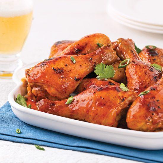 Pilons de poulet barbecue, citron et paprika fumé