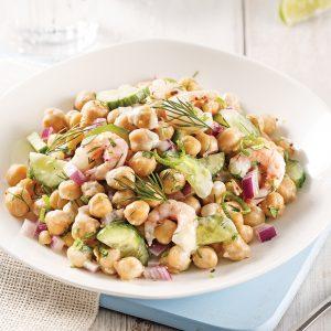 Salade de crevettes et pois chiches à l'aneth
