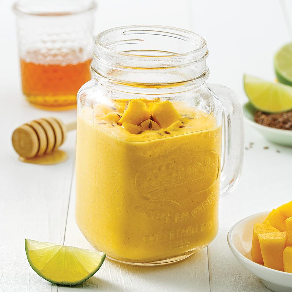 Smoothie mangue et graines de lin
