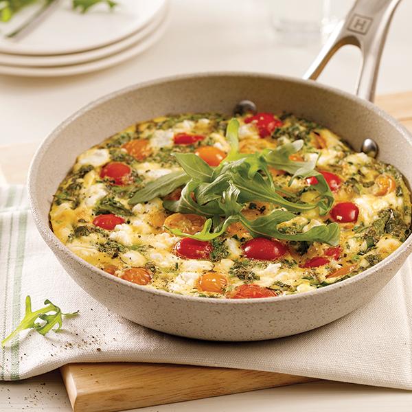Frittata aux tomates et fromage de chèvre
