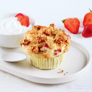 Muffins fraises-rhubarbe