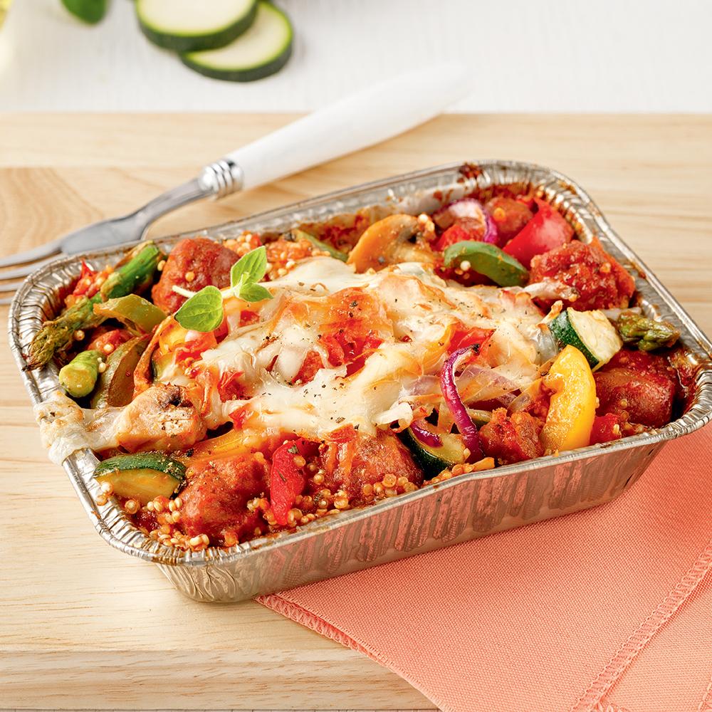 Barquettes de quinoa, saucisses et légumes