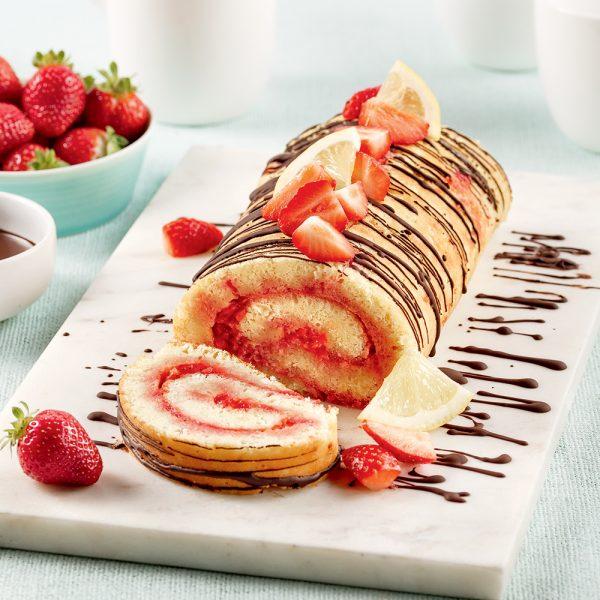 Gâteau roulé aux fraises et citron