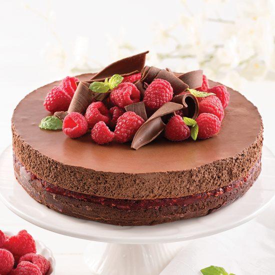 Gâteau-mousse au chocolat et framboises