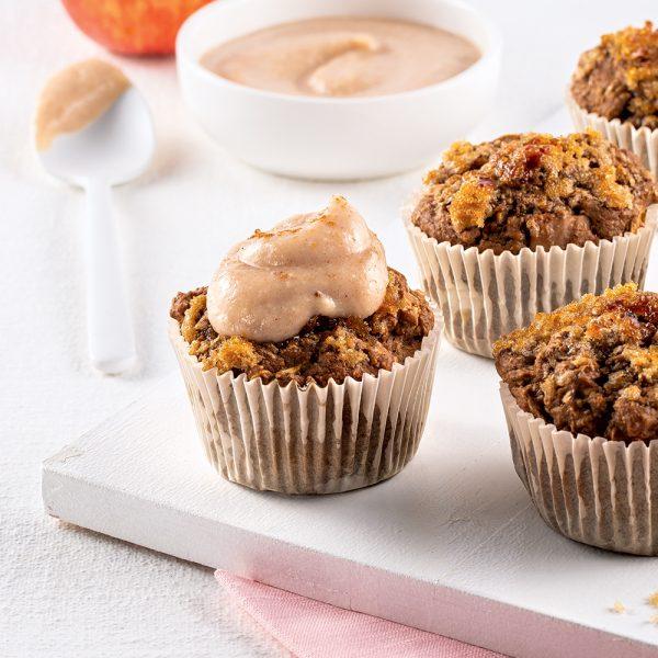 Muffins aux pommes, avoine et pacanes