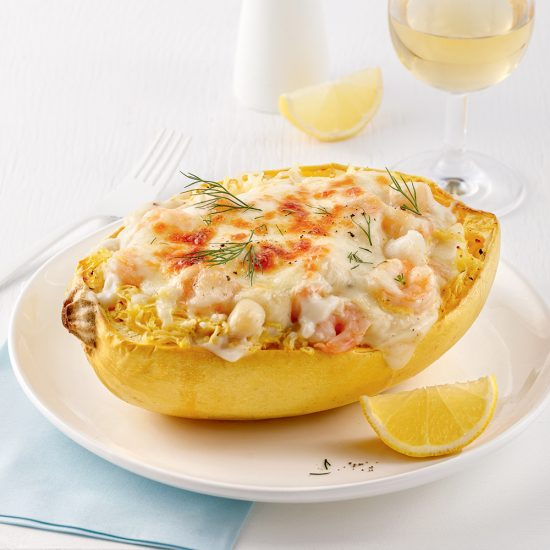 Courge spaghetti style coquille Saint-Jacques