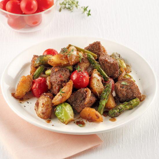 Poêlée de boeuf et légumes au vinaigre balsamique