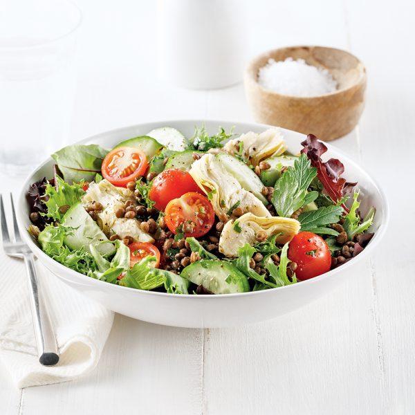 Salade d'artichauts et lentilles